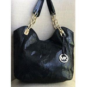 Michael Kors Black Snakeskin Hobo Handbag